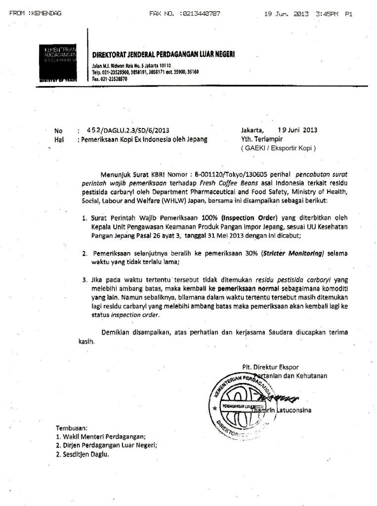 Surat Dit. Ekspor Kemendag - Re Pemeriksaan Residu Carbaryl di Jepang