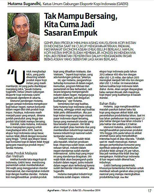 Agrofarm  Edisi 52 - Hutama Sugandhi, Ketua Umum Gabungan  Eksportir Kopi Indonesia (GAEKI)
